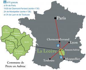 Carte de France, la Lozère et Peyre en Aubrac